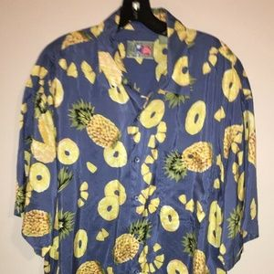 Hilo Hattie Mens Large Hawaiian Pineapple Shirt